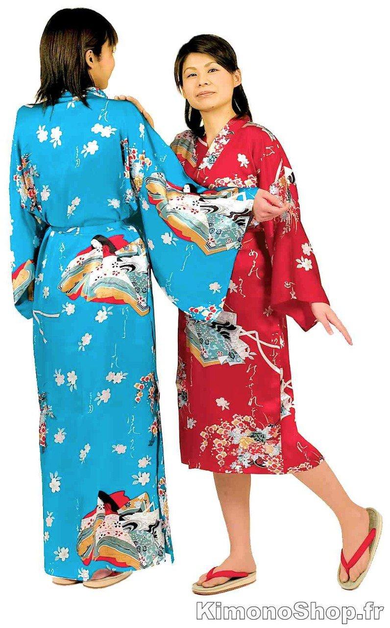kimono japonais hime sakura soie femme. Black Bedroom Furniture Sets. Home Design Ideas