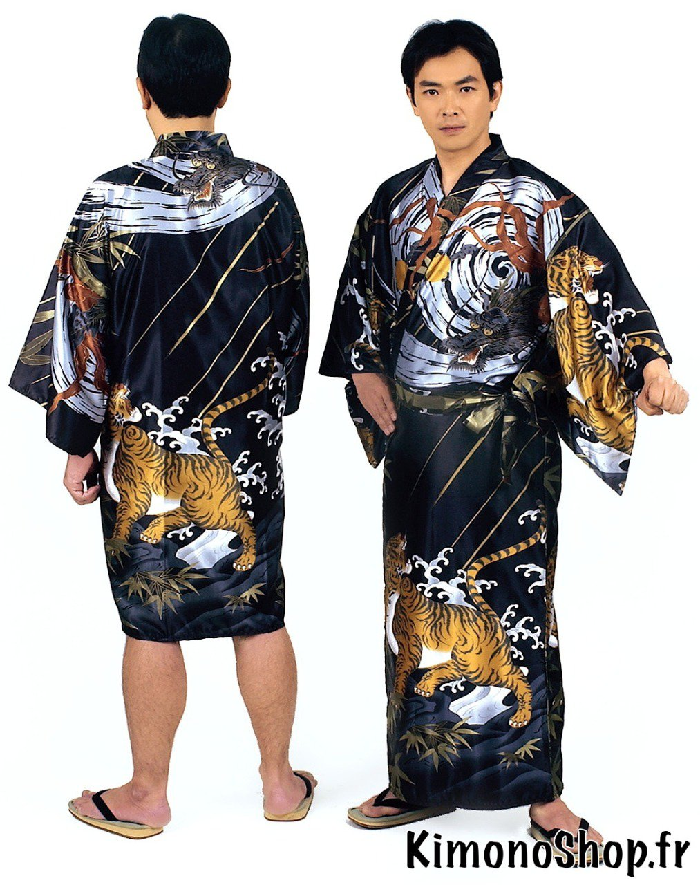 kimono japonais ryuko polyester noir homme. Black Bedroom Furniture Sets. Home Design Ideas