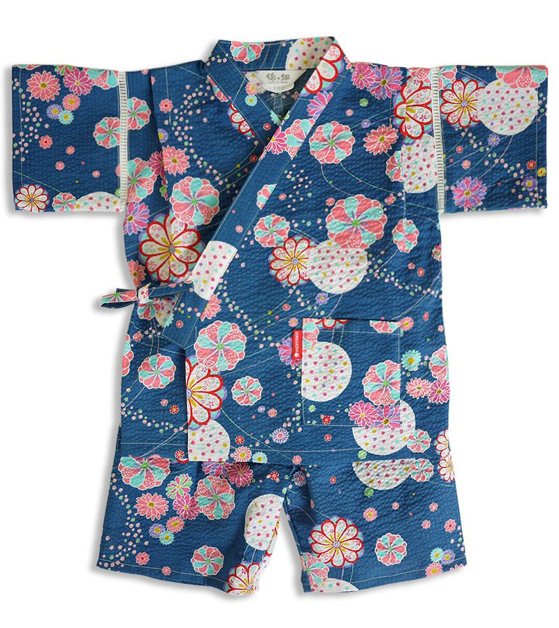 "Jinbei japonais O Hana coton bleu enfant ""Made in Japan"""