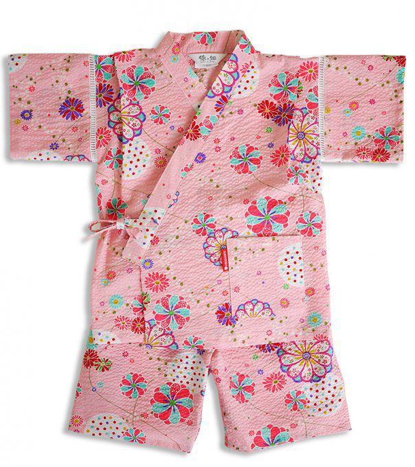 "Jinbei japonais O Hana coton rose fille ""Made in Japan"""