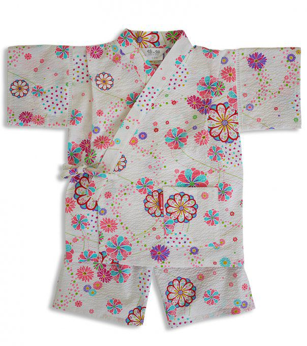 "Jinbei japonais O Hana coton blanc fille ""Made in Japan"""