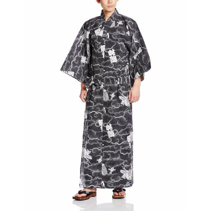 "Yukata Ryu Jin Dragon divin noir homme Taille 2L (175~185cm) ""Made in Japan"""