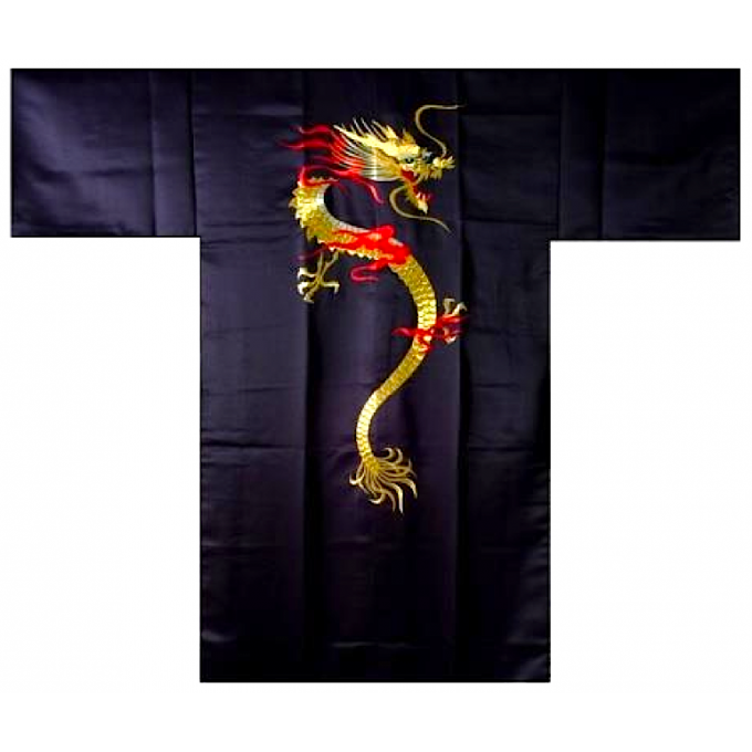 "Hanten Dragon enflammé polyester noir homme ""Made in Japan"""