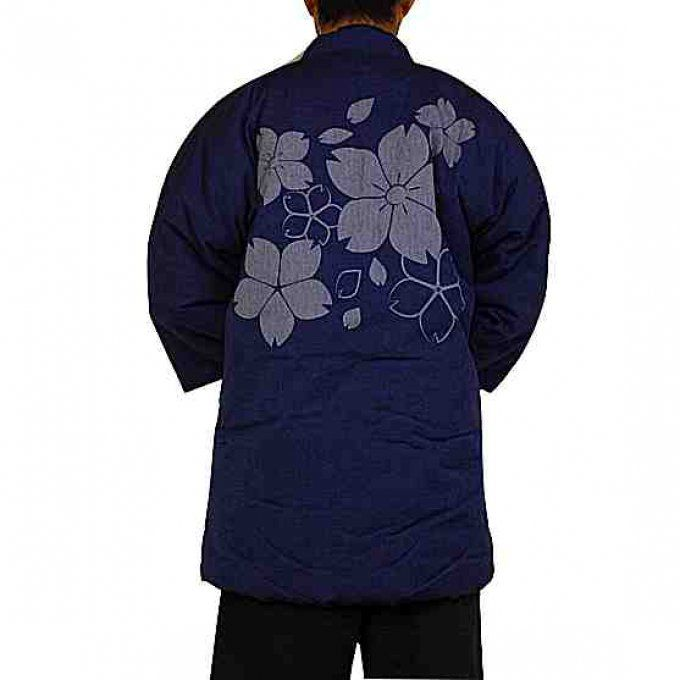 "Hanten Sakura bleu marine hiver ""Made in Japan"""