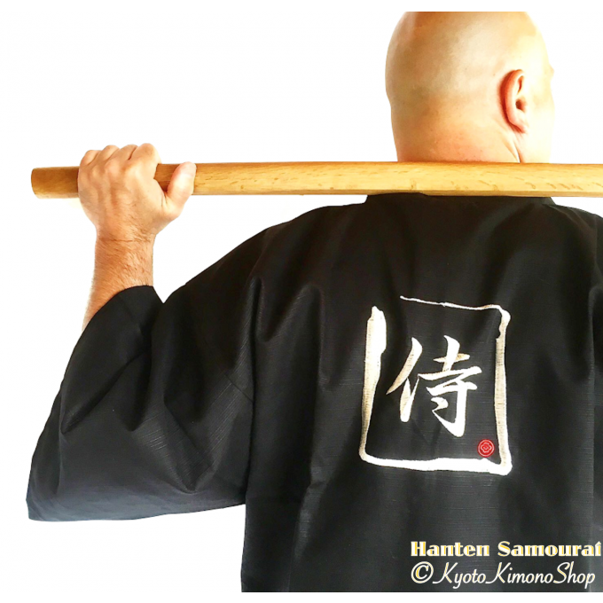 "Hanten samourai coton noir homme ""Made in Japan"""