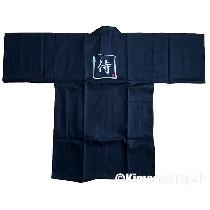 "Veste kimono Happi coat samourai coton noir homme 35inch ""Made in Japan"""