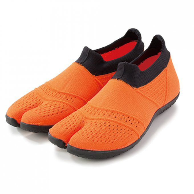 "Chaussure japonaise Jikatabi Hitoe orange Multi-Sport Fitness Marugo ""Made in Japan"""