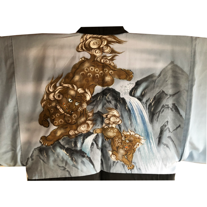 "Ancien haori samourai Shisa Taka no Hane Montsuki homme ""Made in Japan"""