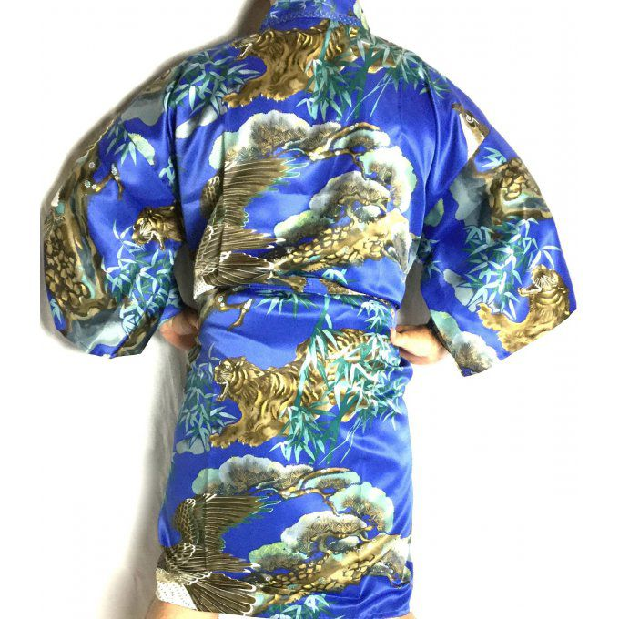 "Happi Tora Washi polyester bleu homme ""Made in Japan"""