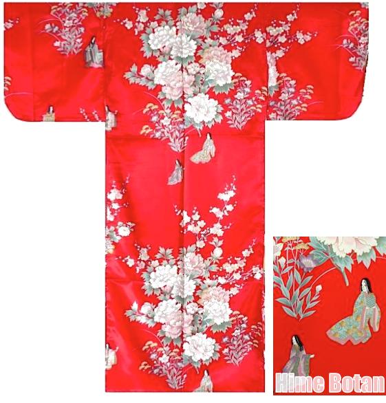 "Kimono japonais Hime Botan rouge polyester fille ""Made in Japan"""