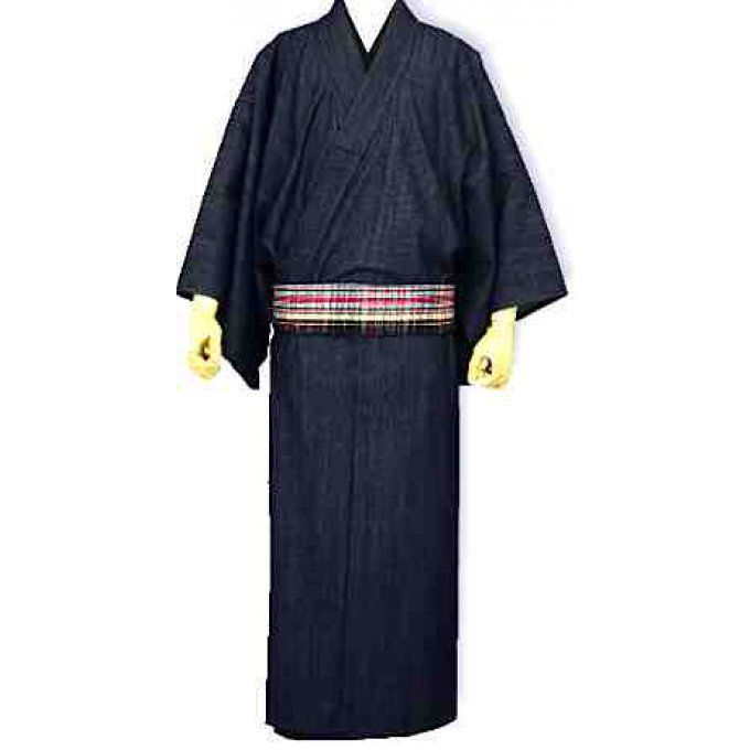 "Kimono traditionnel japonais coton bleu marine Denim (Jeans) homme ""HandMade in Japan"""