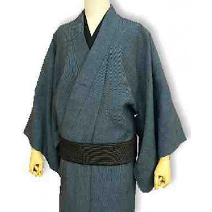 "Kimono traditionnel japonais haute couture Sen Some Indigo Lin homme ""HandMade in Japan"""