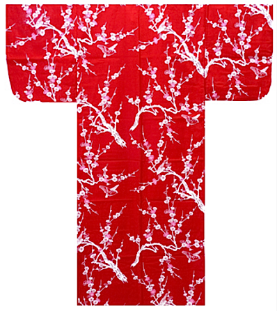 "Yukata Ume rouge femme Taille:M (155cm~165cm) ""Made in Japan"""